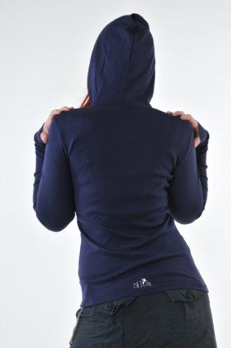 Hoodie Femme Sweats à Capuche print fleur de fée de 3Elfen - Manches Longues Marine