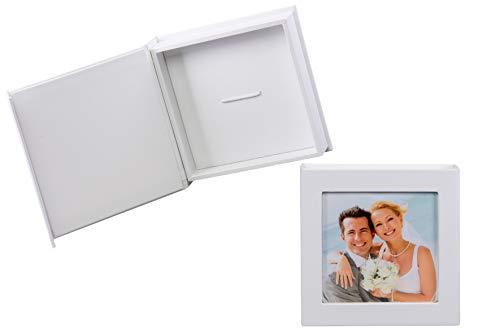 Hochzeit USB-Box mit Gummihalterung. Kunstleder Weiss. Ohne USB-Stick