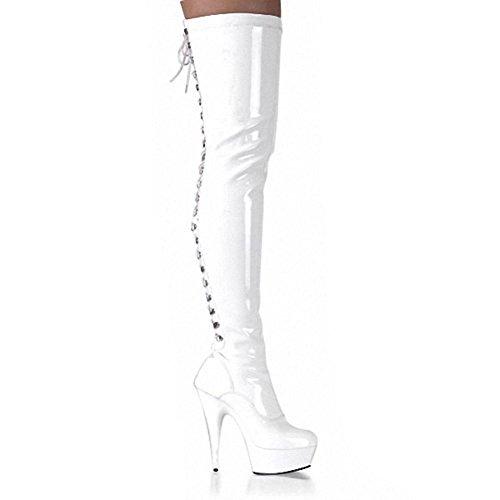 Stivali da donna lunghi sopra il ginocchio allacciatura dietro la pelle modello super tacchi alti Nightclub Pole Dance scarpe, BLACK-35 WHITE-44