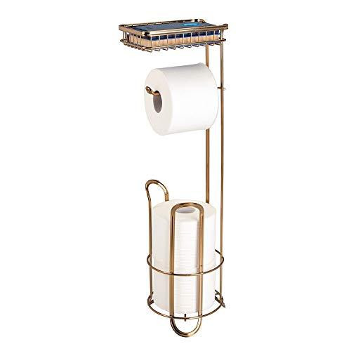 mDesign Toilettenpapierhalter ohne Bohren - Klorollenhalter fürs Badezimmer mit Ablage für Feuchttücher, Magazine etc. - zeitloser Papierrollenhalter aus Metall - messingfarben