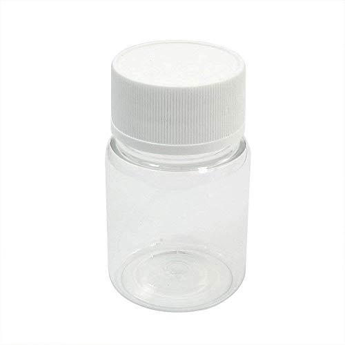 Aofocy Kunststoff Leere zylindrische 60ml chemische Flasche Medizin Flasche Reagenzflasche Kleiner Flüssigkeitsbehälter mit Kappen für Reisen und Zuhause transparent (Behälter Mit Gewürz Kappe)