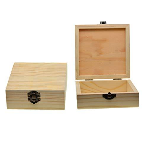 FLAMEER 2X Unfinished Square Holz Schmuck Geschenk Box Fall Für DIY Malerei Handwerk 12 cm - Unfinished Holz