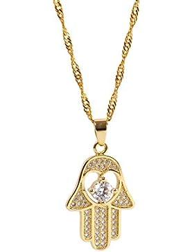 Remi Bijou - 18K Vergoldene Halskette mit Anhänger - Zirkonia Steinchen - Fatimas Hand Hamsa