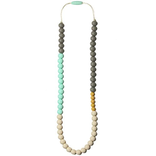 Mama & Little Olivia Silicone Baby Teething Necklace for Moms - Nursing Necklace in Sweet Mint - Teething Beads and Baby Teething Toys