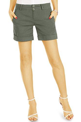 bestyledberlin Damen Chino Shorts, Basic Stoff Hotpants, Kurze Baumwoll Hosen j40l khaki 36/S (Khaki Chino Shorts)