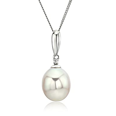 Miore Diamond and Pearl Pendant, 9 ct White Gold Necklace