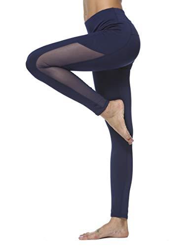 dh Garment Legging de Sport Femme Pantalon Fitness Amincissant Taille Haute avec Poche Tenue Sport pour Yoga Zumba Gym Running (Large)
