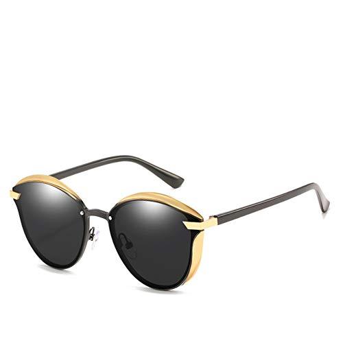 GEETAC Retro-Sonnenbrille für Frauen, polarisierter UV-400-Schutz John Lennon Steampunk Metallrahmen Round Fashion Sunglasses,Black