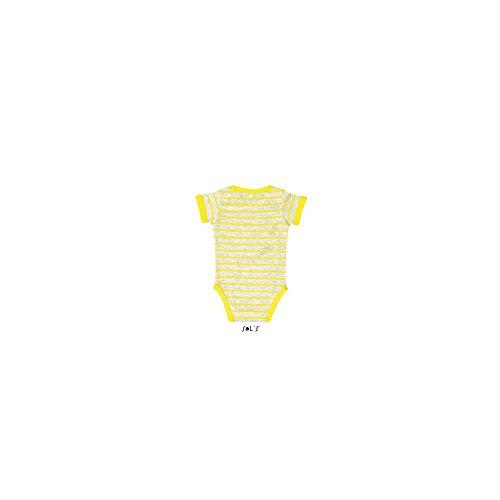 Baby Striped Bodysuit Miles Ash (Heather)/Lemon