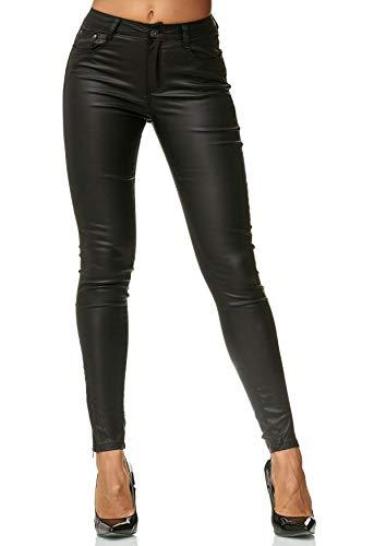 ArizonaShopping Damen Treggings Hose Leder Optik Kunstleder Hose Skinny Stretch Röhre D2476, Farben:Schwarz, Größe Damen:36