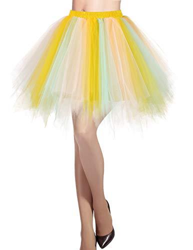 DRESSTELLS Damen Tüllrock 50er Rockabilly Petticoat Tutu Unterrock Kurz Ballett Tanzkleid Ballkleid Abendkleid Gelegenheit Zubehör Champagne-Light Pink M