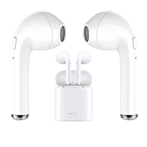 Auriculares inalámbricos, auriculares con auriculares Bluetooth con micrófono, mini auriculares intrauditivos, auriculares deportivos resistentes al sudor con funda de carga para iPhone X 8 7 6 Plus Samsung Android