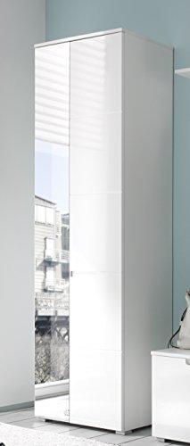 Stella Trading Garderobenschrank Dielenschrank Spice Weiß/MDF Weiß Hochglanz, mit S