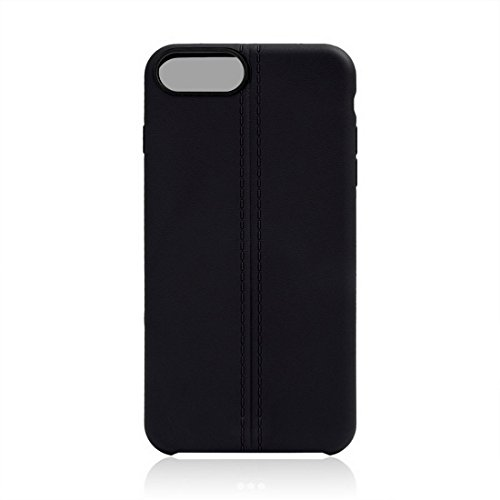 iPhone Case Cover Pour iPhone 7 Plus Central Doubles Lignes Surface Douce TPU Housse de Protection ( Color : Apricot ) Black