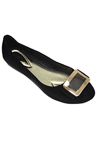 Fantasia Boutique flh883 Madalyn II Boucle Accent Faux Daim Mode Escarpins Élégant Chaussures Plates