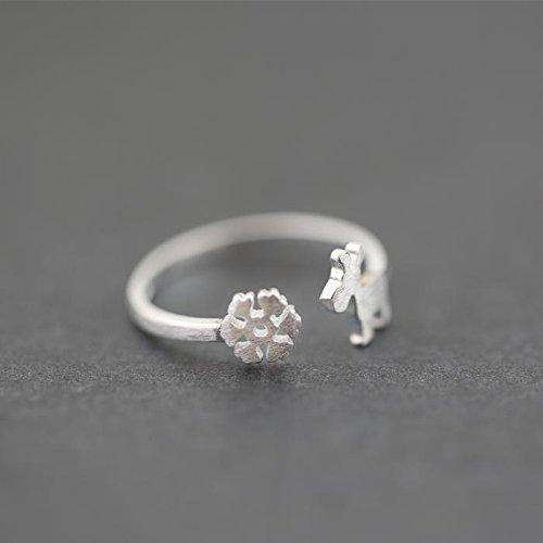 &qq Anelli,Fiocco di neve piccolo anello alci forma, anello in argento sterling S925, anello regolabile dimensioni, anelli paio, regali