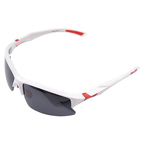 Polarisierende Radsportbrille/Fahrradbrille für Herren, bruchfeste Sport-/Fahrrad-Sonnenbrille, UV 400,STS014, für Outdoor-Aktivitäten, weiß/rot