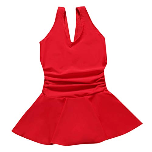 feiXIANG Mädchen Badeanzug mit Rock Kinder Einteiler Baderock Bade Kleinkinder Kinder Strand Kleid Badeanzüge Sleeveless Kleidung (Rot,6-7 Jahre=XXL) Crochet Sleeveless Rock