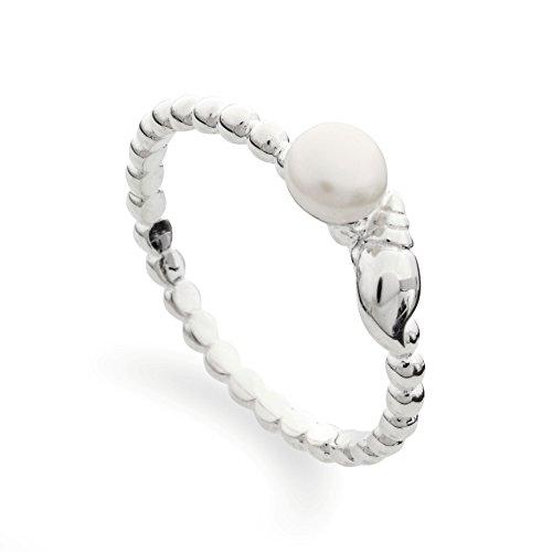 DUR: feiner Kordel-Stapel-Ring mit echter weißer Perle und Muschel, Sterling-Silber 925, Größe 56 (17.8) - Damen