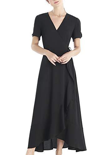 OURHERITAGE CLOTHING Damen Long Kleid Wickelkleid mit Rüschen Maxi Casual XL Schwarz -