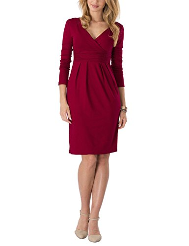 Ourlove Fashion Womens Knee Length Long Sleeve Empire Dress Ruched Waist Classy V-Neck Casual Cocktail Dress (UK 14, Burgundy)