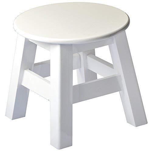DRULINE Holzhocker Sitzhocker Schemel Weiß 24 cm x 25 cm - Hocker Schemel