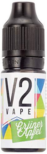 V2 Vape Grüner-Apfel AROMA / KONZENTRAT hochdosiertes Premium Lebensmittel-Aroma zum selber mischen von E-Liquid / Liquid-Base für E-Zigarette und E-Shisha 10ml 0mg nikotinfrei