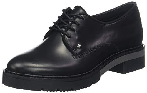 Tommy Hilfiger Metallic Leather Lace Up, Zapatos de Cordones Derby para Mujer, Negro Black 990, 38...