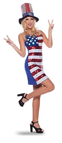 Folat 21928-Glitter Kleid American USA-Flagge, Damen, S-M (Kleid Flagge Usa)