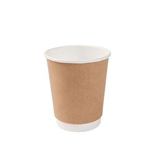 BIOZOYG Karton Doppelwand Kaffee Trinkbecher Einweg Bio I 500 Stück to Go Pappbecher innen weiß, Außenwand braun unbedruckt 200 ml / 8 oz I 100% biologisch abbaubar, Zertifiziert kompostierbar