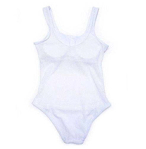 PU&PU Frauen-Strand-Bänder Bikinis-Einteiler-Badeanzug-Normallack-Ineinander greifen-Patchwork-drahtloser gepolsterter Büstenhalter White