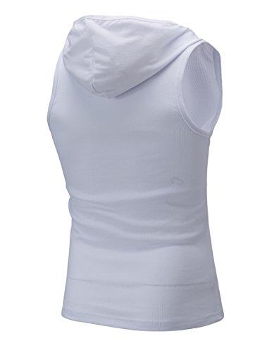 Boom Fashion Herren Top T-Shirt mit Kapuze Sport Elastizität Slim Fit Einfarbig Weiß 03