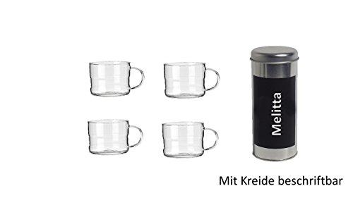 Pad Dosen Deko mit Kreide beschriftbar + 4 Glastassen 200ml mit Henkel