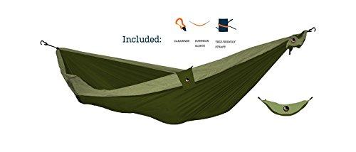 TICKET TO THE MOON Hängematte, Ultimate (inkl. Schutzhülle, Karabiner, Baumfreundliche Gurte)- armygrün/ khaki