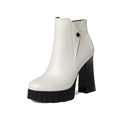 Mme automne et d'hiver en cuir bottes épaisses avec des chaussures à talons hauts ronds bottes imperméables