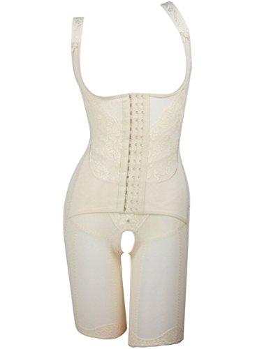 Women's Full Body Shaper Waist Cincher Underbust Corset Bodysuit Shapewear Nude