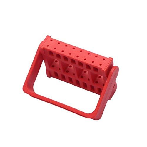 Homie Nagelwerkzeug-Bestückungsbox Nagelpolierkopf-Ausstellungsstand Schleifkopf-Wagenheber-Tisch 16-Loch-Schleifkopf-Aufbewahrungsbox, rot