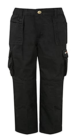 Tuffstuff Childrens Kids Pro Work Junior Childs Trousers Kneepad Pouches & Mobile Pocket Triple Stitched & Double Thickness On The Back Pockets With Tuck Away Pockets School Camping Trips Casual 711J Black 9-10