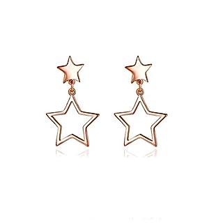 AieniD Edelstahl Stehlen Ohrringe zum Damen Persönlichkeit Star Rosette Gold 2.6x1.5CM