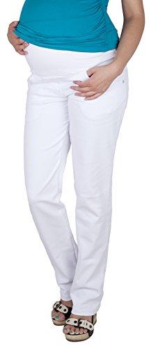 Mija - Komfortable Schwangerschaftshose Denim Umstandshose mit Bauchband 9036 (38/M, Weiß)