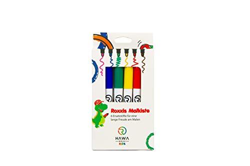 Roxxies Malkiste: 6 Grundfarben für eine lange Freude am Ausmalen von Roxxies Kinder-Tischunterlage aus Silikon - 6 atoxische und wasserlösliche Filzstifte nach deutschem Standard