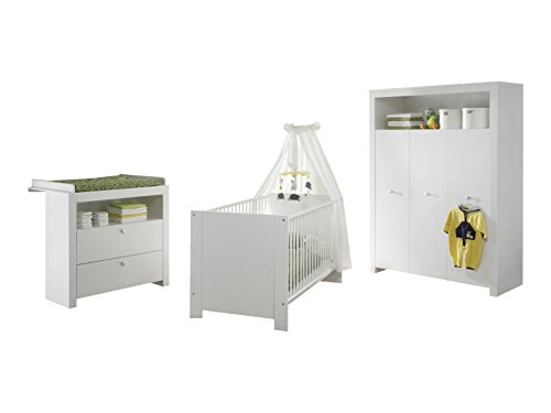 Furnline Olivia Nursery Furniture Room Set, Wood, White, 3-Piece