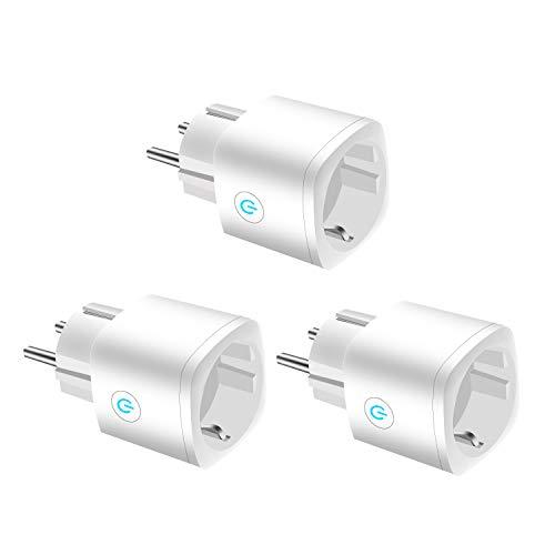 Smart Steckdose, JULES V Wifi Steckdose Outlet kompatibel mit Alexa, Google Home & IFTTT, Fernsteuerung Ihrer Haushaltsgeräte von überall, kein Hub erforderlich, weiß 3er-Pack (Upgrade-Version) (Google Weiß)