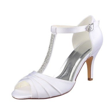 Wuyulunbi@ Scarpe donna raso elasticizzato estate della pompa base scarpe matrimonio Stiletto Heel Peep toe Crystal per Party & sera abito bianco Bianco