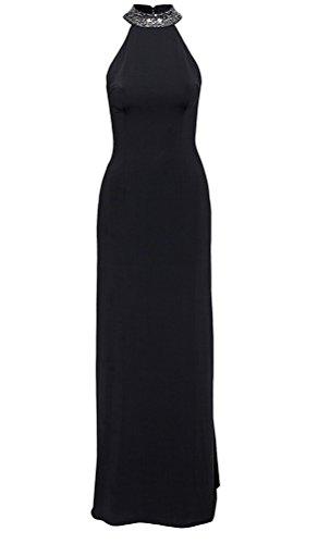 Brinny Femme pailletté Robe Épissure Dos nu creux Demi-hauteur collier Sexy Robe Maxi de Soirée / Partie / Mariée / Anniversaire / Banquet Noir / Abricot Noir