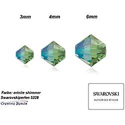 Creative-Beads swaro vski Perles, 4mm, double cône, konisch, 5328, 25stück, Erinite Shimmer. nouvelles couleurs Effet, surface ausdrucksvolle. Haute Bracelets colliers et boucles d'oreilles à