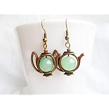 FREE SHIPPING! Quirky brass teapot earrings with green aventurine crystal pearls, antique style brass, Alice in Wonderland gifts