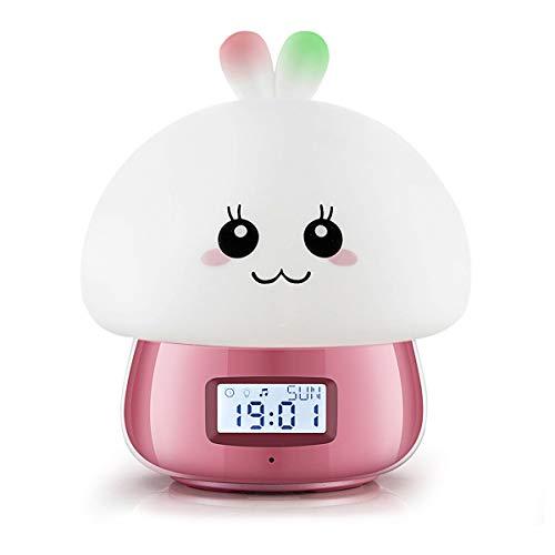 Encantador Lámpara del Despertador, Reloj Despertador JIAMA con Pantalla Digital LED con Controlar Remoto, Luces de Noche de 7 Colores, 11 Hermosos Sonidos/El Mejor Regalo para Niños y Niñas.