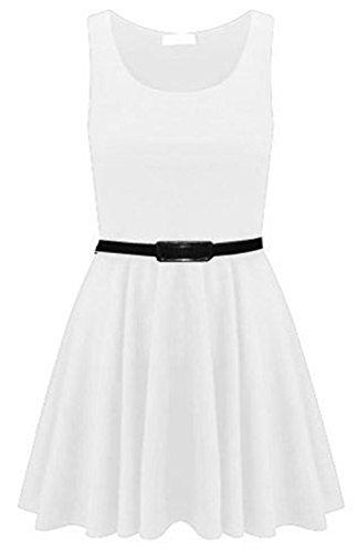 Get The Trend - Mini Robe Trapèze Femmes À Ceinture Sans Manches Patineuse Couleur Uni Blanc - Blanc