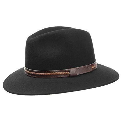 Lipodo Chapeau Kentucky en Laine Femme/Homme | Made in Italy Chapeaux pour Homme de Feutre avec Bandeau Cuir Printemps-ete | XL (60-61 cm) Noir